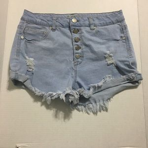 Refuge light wash button fly denim shorts